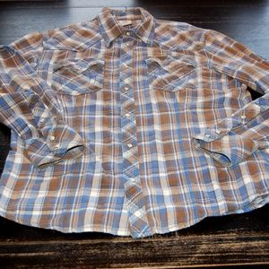 True Religion Plaid Pearl Snap Long Sleeve Shirt